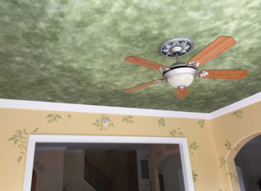 Faux finish ceiling, custom stenciling and metallic foil