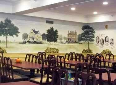 Panoramic historical mural in sorority formal dining room