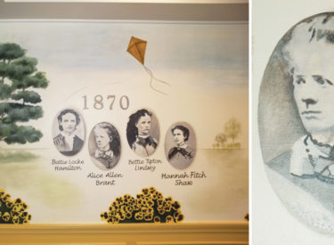 Detail of historical mural in sorority formal dining room
