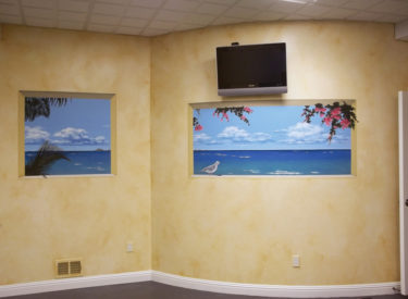Exercise room mural with faux finish olde-world drift