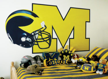 Trompe l'oeil University of Michigan bedroom mural. This is NOT a FatHead decal.