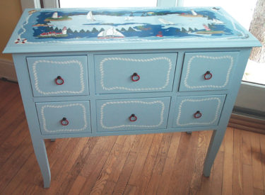 Hand Painting of Console – Northern Michigan Nautical Theme
