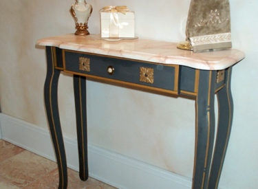 Hand Painting and Faux Marbling of Bath Console