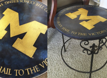 Faux Marbling with Gold Foil Stenciling for University of Michigan Tabletops