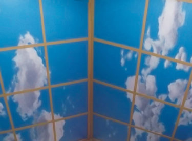 Detail of vaulted ceiling trompe l'oeil mural