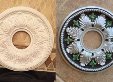Before and after of ceiling medallion painted with metallics