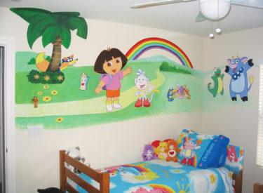 Children's bedroom mural with Dora the Explorer theme