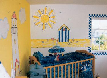 Children's bedroom with seaside nautical theme