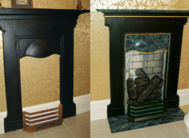 Trompe l'oeil and faux marble transformation of fireplace surround