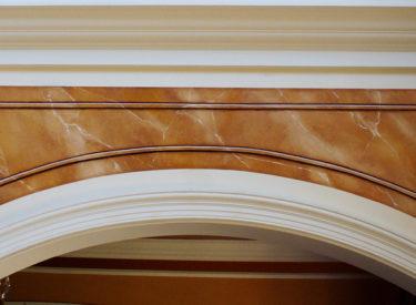 Detail of trompe l'oeil marble