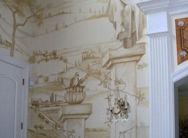 Detail of trompe l'oeil mural