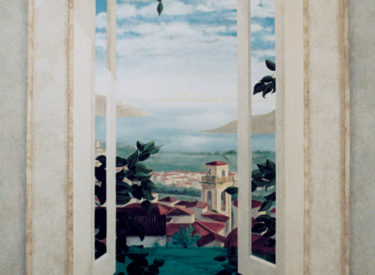 Trompe l'oeil mural with Tuscany view