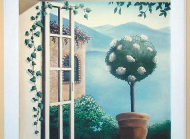 Trompe l'oeil mural of Sienna view