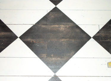 Painted diamond pattern with distressing