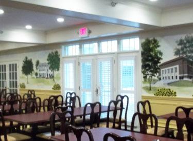 Panoramic historical mural in sorority formal dining room