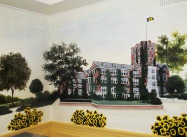 Detail of historical mural in sorority formal dining room