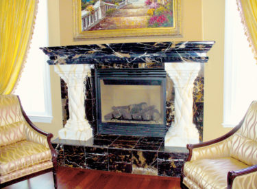 Faux marbled mantel and columns to match actual marble hearth and sides