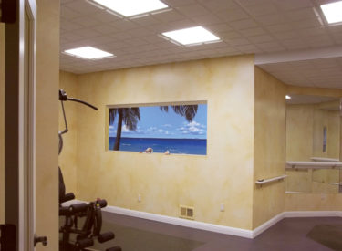 Exercise room mural side wall with faux finish olde-world drift