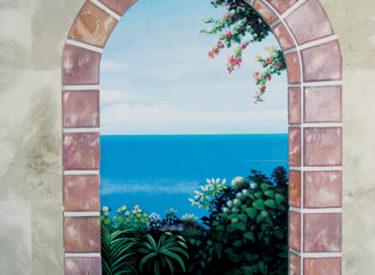 Family room trompe l'oeil mural