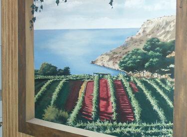 Wine cellar trompe l'oeil mural