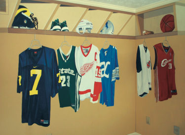 Youth bedroom trompe l'oeil mural of locker room, jerseys and equipment
