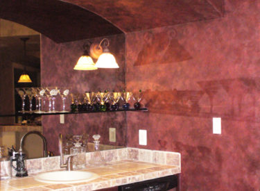 Entertainment area with metallic lusterstone faux finish