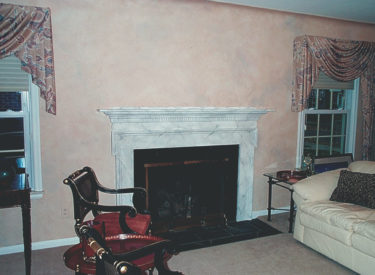 Olde-world faux finish and faux marbled fireplace