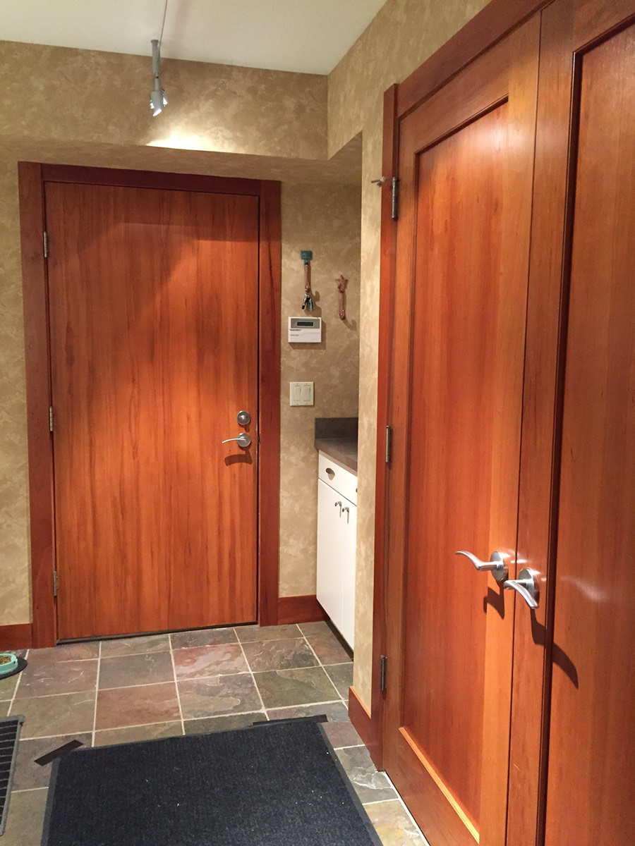 Faux Woodgraining of Interior Door to Match Other Doors shown on Right