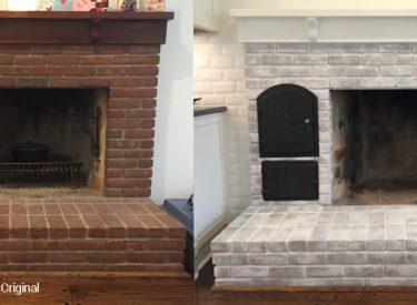 Whitewashing of original brick fireplace
